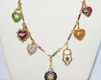 SALE --- STARTER NECKLACE - Joan Rivers Hearts & Flowers Charm Necklace with 7 Charms             - S1495