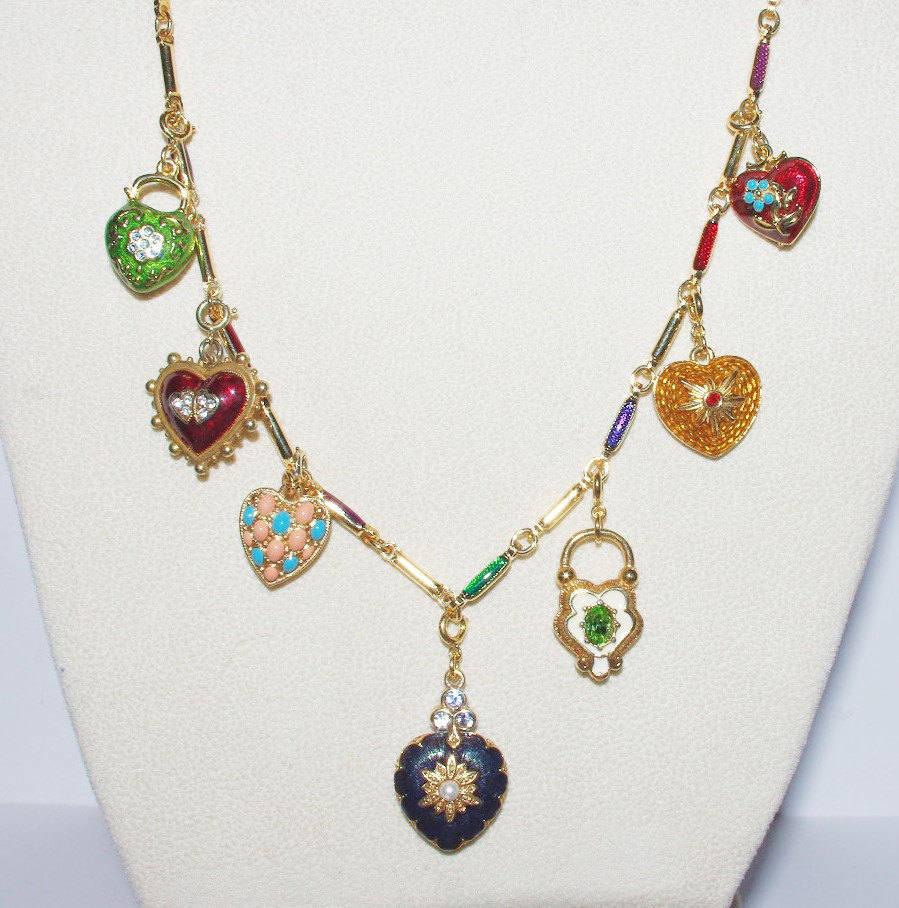 Starter necklace joan rivers hearts flowers charm necklace for Joan rivers jewelry necklaces