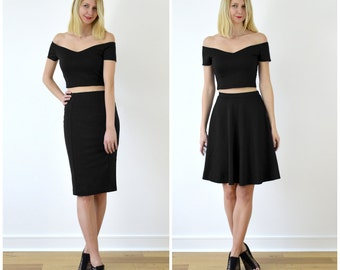 Audrey or Coco Black Off Shoulder Bardot Crop Top and Skirt Set. Choose from Crop Top and Skater Skirt or Crop Top and Pencil Skirt
