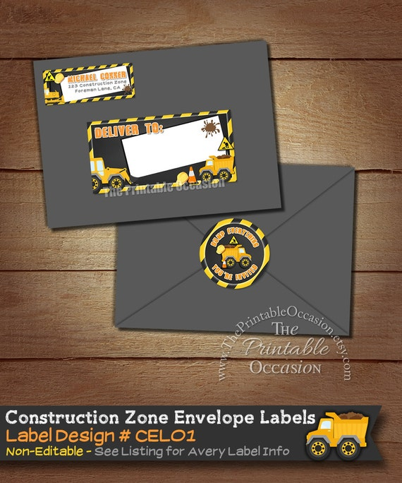 Construction envelope labels construction return address label il570xn reheart Images