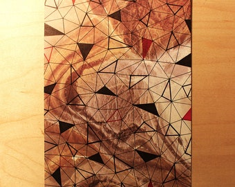 Triangulation | Original Geometric Ink Drawing on Marbled Paper