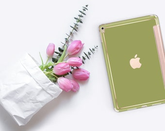 Green Olive with Rose Gold Smart Cover Hard Case for iPad Air 2, iPad mini 4 , iPad Pro , New iPad 9.7 2017 - Platinum Edition