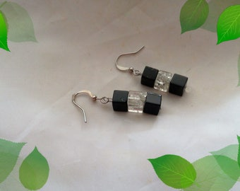 Earrings, glass cube, black and transparent