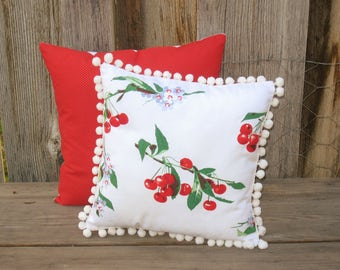 "Cottage Throw Pillow for Couch or Bed, Decorative Pillow for Cottage or Granny Chic Bedroom, Cherry Decor, 12"" square Pillow"
