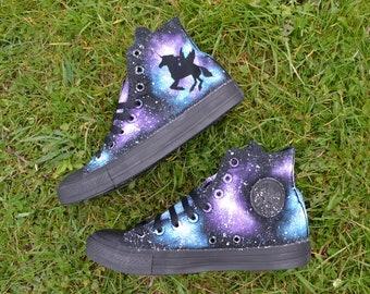 Unicorn Galaxy Converse, Unicorn Converse, Custom Converse, Painted Converse, Galaxy Converse, Unicorn Shoes, Winged Unicorn, Dark Unicorn