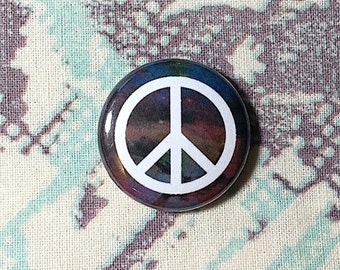 Galaxy Nebula Peace Sign Pinback Button or Magnet