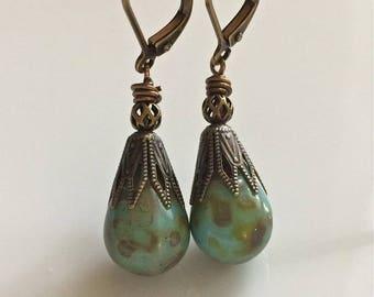 Bohemian Earrings  Turquoise Glass Earrings   Boho  Czech Glass Teardrops   Brass Leverback Earrings  Short Dangle Earrings  Gypsy Dangles