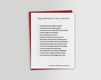 Coworker Funny Birthday Card - Co-worker Funny Birthday Card