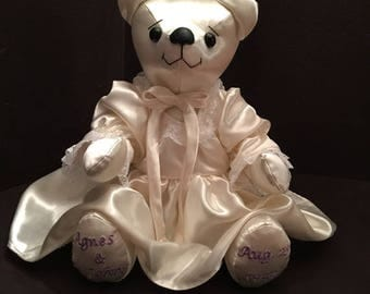 Memory Bear made from Wedding Dress