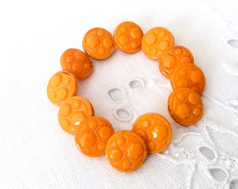 12 Orange Glass Buttons Small 8 mm Vintage