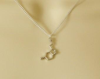 Serotonin Necklace, Molecule Necklace, Science Jewellery, Serotonin Jewellery, Silver Serotonin Pendant, Serotonin Charm Necklace