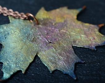 maple leaf rainbow pendant nature leaf necklace copper electroplating unique necklace for woman gift maple leaf necklace