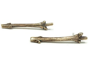 Bronze Twig studs, Branch Earrings, Lilac Twigs, Tree branches earrings, Nature Jewelry, Botanical Earrings, Woodland Jewelry
