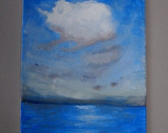 Seascape Painting Small Art Oil Paint Canvas Artwork Original Blue White Cloud Small Oil Painting Impressionist Painting Blue Art