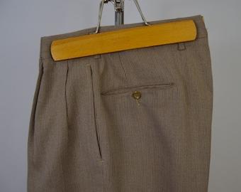 Vintage 1950s Light Brown Orange Fleck Drop Loop Trousers Size 32 x 28