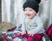 Baby bear hat double pom pom hat || the WAGONER mini || photography prop