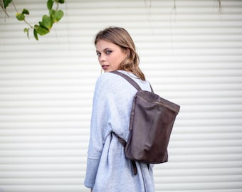 Oasis, Small Leather Backpack, Women Backpack, Chocalate Brown Rucksack Bag, Small Satchel, School Bag, Handmade Leather Bag