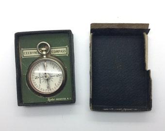 working antique COMPASS, 1915, Magnapole, Short & Mason, Taylor, Pocket Compass, glass top,  pocket watch fob,  steampunk pendant  zz