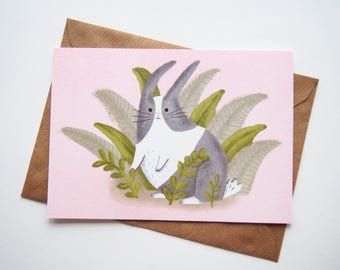 Bunny Easter Greeting Card, A5