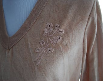 Vintage 80's/90's Light Brown Velour Sweatshirt With Floral Embroidery Detail