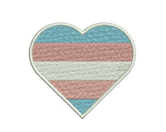 Machine Embroidery Design Instant Download - Heart Transgender Pride Flag