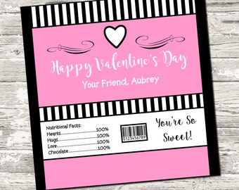 Happy Valentine's Day Pink Candy Bar Chocolate Bar Wrappers Favor Print Your Own Digital
