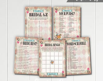 Alice in Wonderland Printable Bridal Shower Games - Bingo - Word Scramble - Who Knows Bride Best - What's In Your Purse - Pink Mad Tea Party