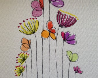 Spring Flowers original watercolor - matted. By Erica Schisler for Forty Elephants
