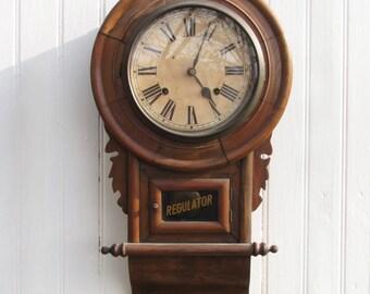 Regulator Schoolhouse Clock c.1900 - Wall Clock - Country Rustic