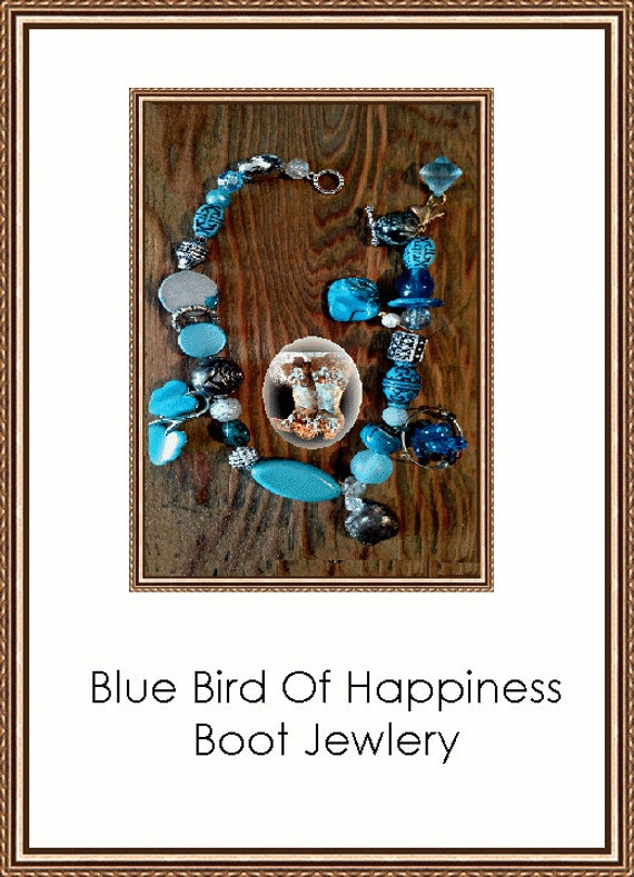 Blue Bird Of Happiness Cowgirl  Boot Jewelry