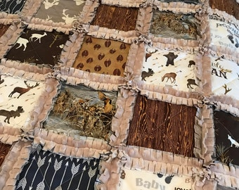 Crib Rag Quilt, Gray Brown Baby Quilt Moose Bears Deer Navy Arrows Rustic Woodland Tan Minky Blue Baby Crib Bedding Arrows Elk Deer Tracks