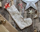 Gold Snowflake Sequin Stocking - Medium