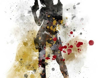Lara Croft inspired ART PRINT illustration, Tomb Raider, Gaming, Wall Art, Home Decor