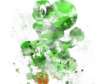 Yoshi ART PRINT illustration, Super Mario, Video Game, Nintendo, Playstation, Xbox, Gaming, Home Decor, Wall Art, Gift