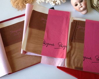 Vintage Schiaparelli stockings boxed set hose 3 pairs seamless hosiery