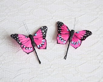 Pink Butterfly Hair Pins, butterfly hair clips, Bridal hair clips, Wedding flower pins, butterfly bobby pins, woodland wedding