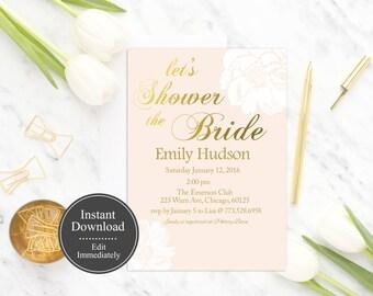 Blush Pink Bridal Shower invitation Printable INSTANT DOWNLOAD, Floral Bridal Shower Invite, Pink Gold Bridal- Listing Moved SEE Description