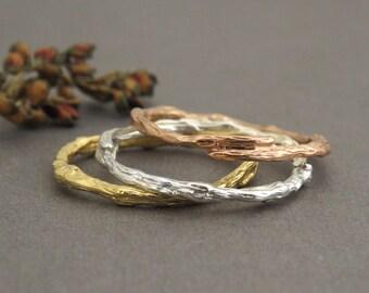 14k Gold Twig Ring, Thin Wedding Band, Thin Twig Ring, Natural Ring, Unique Gold Ring, Branch Wedding Ring, Wood Ring, 14k Gold Ring, Gift.