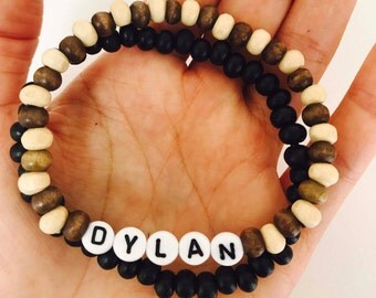 Teenage Boys name bracelet, Teenage boys birthday present, Name bracelet, boys wood bead bracelet, Boys gifts