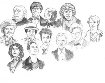 Dr. Who - The 12 Doctors - Art Print from original pencil drawing