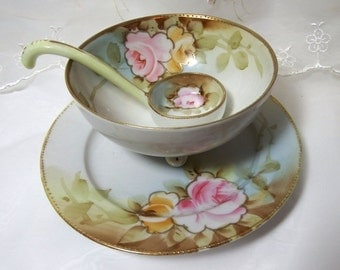Antique China Mayonaise Server, with Underplate and Sauce Ladle, Hand Painted Pink Roses