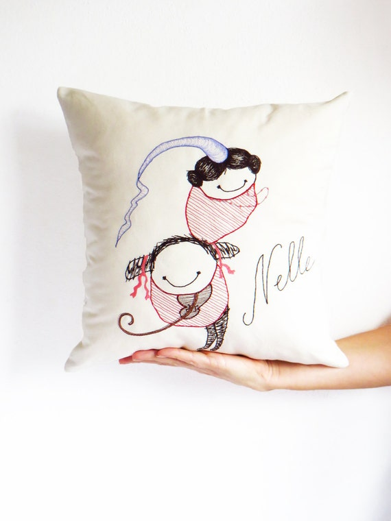Personalized Embroidered Throw Pillows : Personalized embroidered cushion throw pillow Illustration
