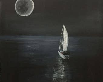 Alone, Sailboat in the Moonlight, Original Oil Painting on stretched canvas