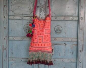 Vintage Hmong Fabric Woven Handmade embroidered Fabric crossbody bag