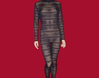 Sheer Black Stretch Lace Mesh with Black Lace Ruffles Unitard Catsuit Bodysuit Jumpsuit - Medium Costume Dance