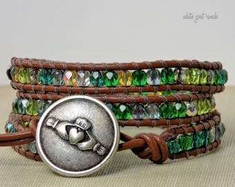 Green bracelet, Glass bracelet, claddagh button, shades of green, Irish, chocolate leather