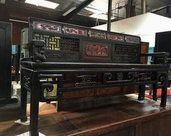Antique Asian Bench in Black (Los Angeles)