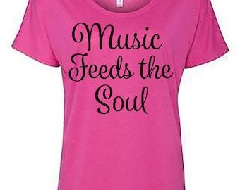 Music feeds the soul, music shirt, gift for musicians, music gift, music lover