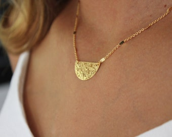 Halfmoon necklace/ Gold plated/ Women for jewel/ Gift for her