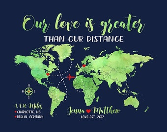 Our Love is Greater Than Our Distance - Long Distance Relationship Couple Gifts, Personalized World Map, Blue Gift for Boyfriend | WF500